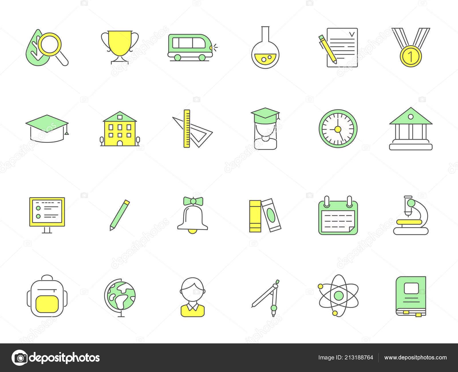 Colored School Icons Vector Symbols Of Science