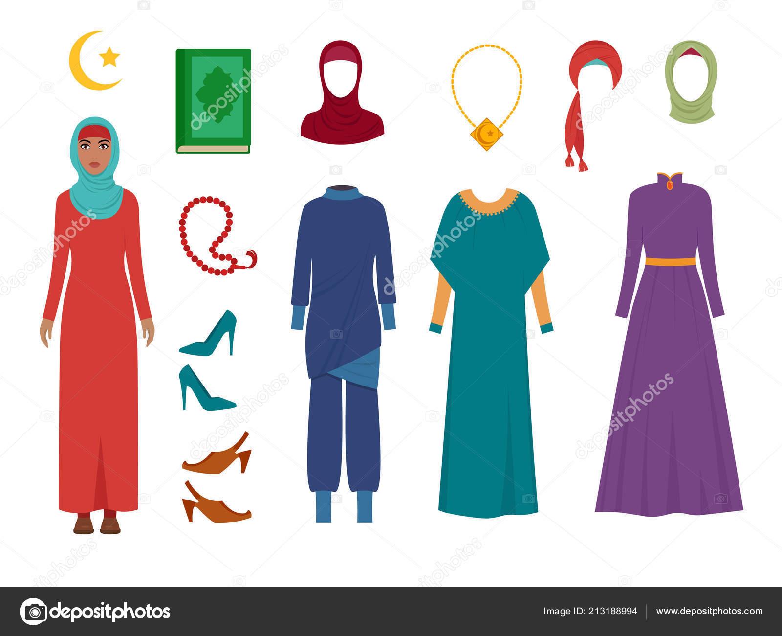 6a00e9a28518 Arabské ženy oblečení. Národní islámské módní dámskou konfekci položky  šátek hidžáb šaty íránských muslimů turecké dívky vektorové obrázky– stock  ilustrace