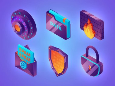 Internet online security 3D. Personal data web protection safety computer internet services firewall vector isometric pictures