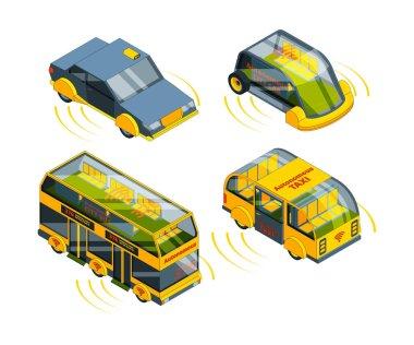 Future unmanned vehicle. Autonomous transport cars buses trucks and trains self control automotive robots system vector isometric