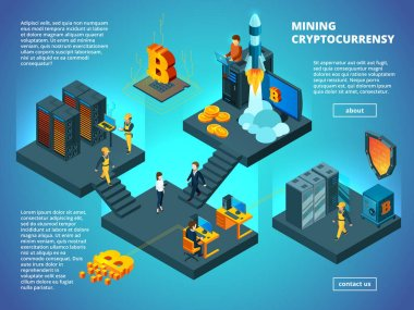Crypto currency concept. Ico blockchain startup office analytics managers anonymous computer transaction vector isometric composition