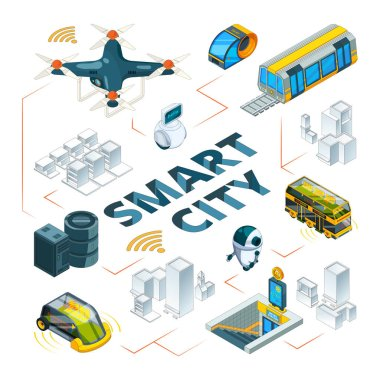 Smart city 3d. Urban future technologies smart buildings and safety vehicle drones cars delivery transport vector isometric pictures