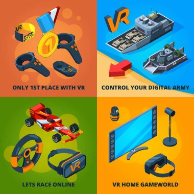 VR computer games. Digital entertainment immersive experience peoples playing virtual reality helmet headset vector concept isometric