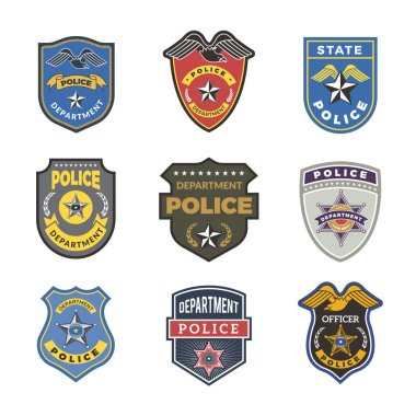 Police badges. Security signs and symbols government department officer law enforcement vector logotypes