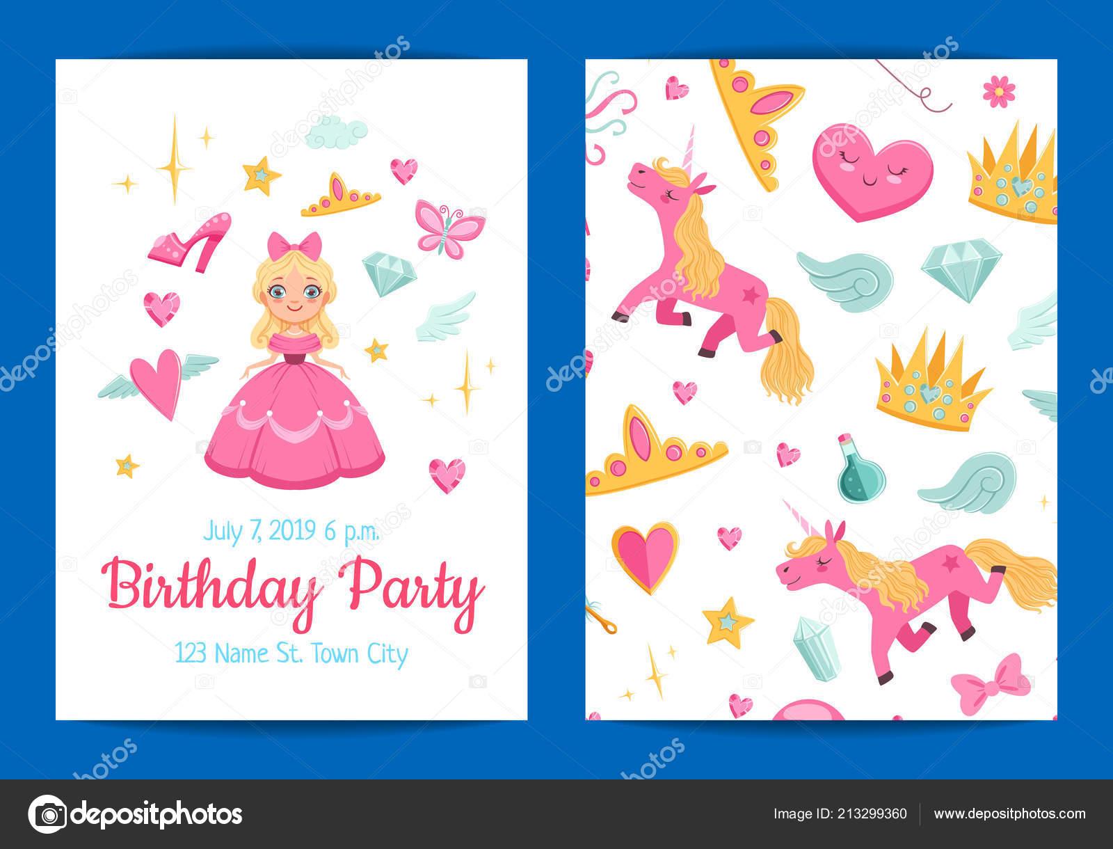 Vector magic and fairytale birthday party invitation illustration ...