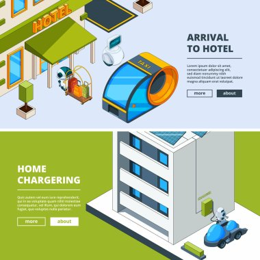 Futuristic transport and robots. Banners template with isometric low poly city of future