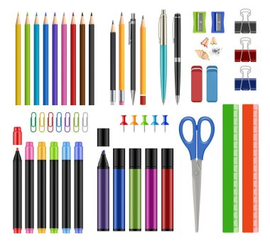 Stationary collection. Pen pencils sharpen rubber school education tools or office supply items vector realistic illustrations isolated