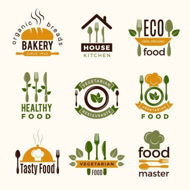 Food logos. Healthy kitchen restaurant buildings cooking house spoon and fork food vector symbols for design projects