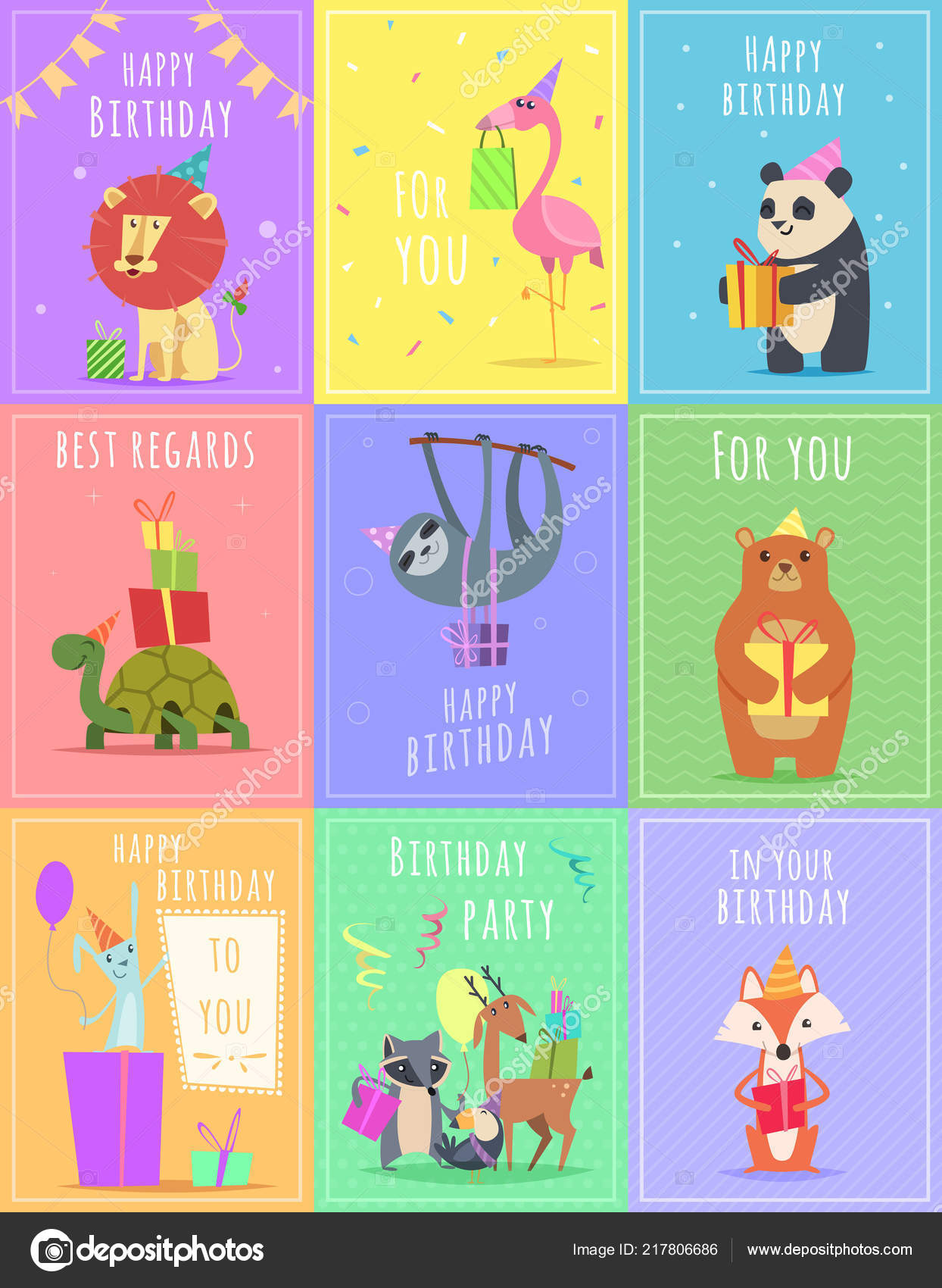 Birthday Cards With Animals Wildlife Zebra Turtle Lion And Monkey Characters At Gift Celebration Colored
