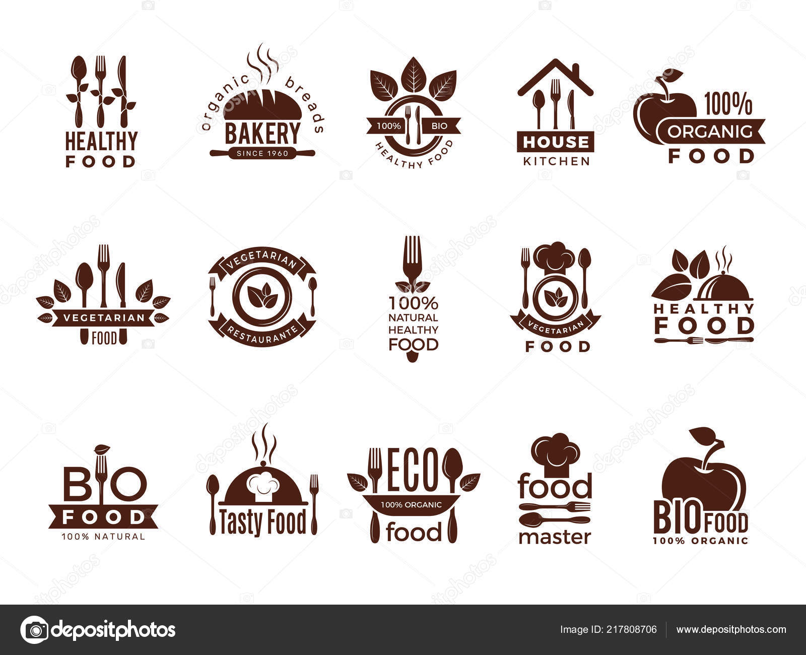 Restaurant logo  Food manufacture vintage labels for kitchen