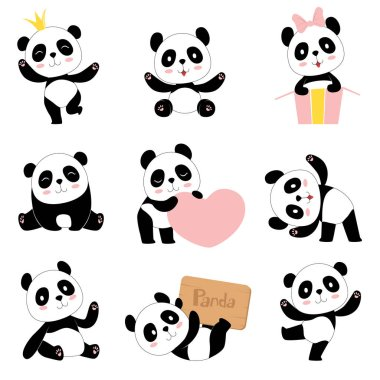 Cute baby pandas. Toy animals chinese symbols panda bear adorable funny baby mascot vector characters collection in cartoon style