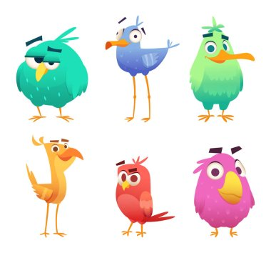 Cartoon funny birds. Faces of cute animals colored baby eagles happy birds. Vector clipart characters isolated