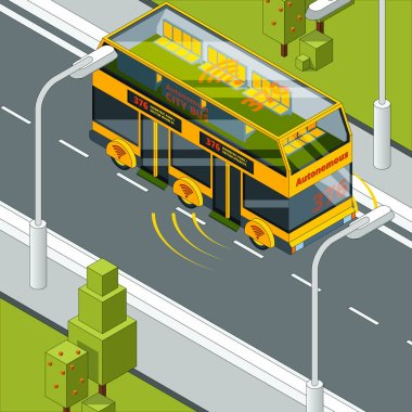 Self driving car. Autonomous vehicle at road concept picture of self control automotive system in automobile vector isometric