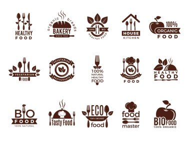 Restaurant logo. Food manufacture vintage labels for kitchen eco fresh healthy cooking house vector badges template