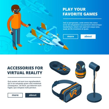 VR banners. Virtual game simulation portable reality equipment helmet headset glasses vector isometric pictures