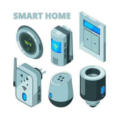 Smart house equipment. Movement sensors electric socket security cam vector isometric pictures