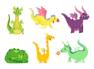 Fantasy dragons. Cute reptiles amphibians and fairytale dragons with big wings sharp tooth wild creatures vector cartoon