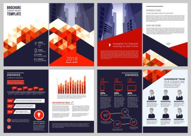 Business brochure template. Annual report corporate documents magazine or catalogue cover pages vector design