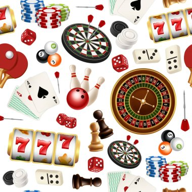 Casino pattern. Poker cards doodle domino bowling darts roulette checkers vector symbols of games seamless realistic illustrations