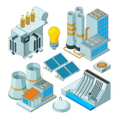 Electrical equipment. Watt electricity lighting generators vector isometric pictures isolated