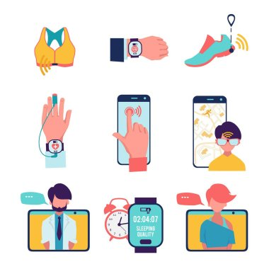 Medicine with computer technologies. Vector healthcare icons set isolate