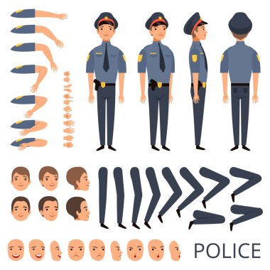 Policeman constructor. Security bodyguard profession character creation kit with shotgun various poses cap officer uniform