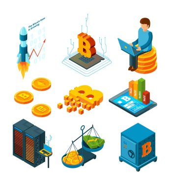 Crypto currency business. Digital ico startup at blockchain finance company globe crypto coins mining vector isometric icon
