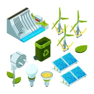 Green energy. Saving factory power electric hydro turbines ecosystem various technology 3d isometric vector symbols