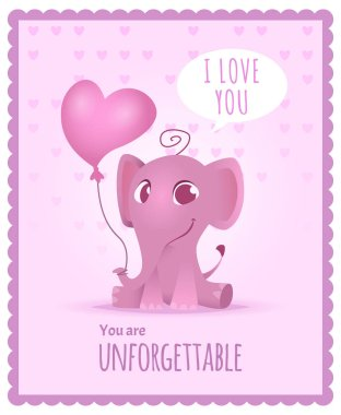 Baby elephant poster. Kids invitation with picture of cute and funny adorable little african elephant vector card or placard template