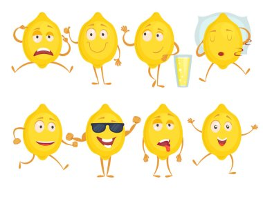 Lemon funny characters. Fresh fruits emotions sadness joy surprise and various poses. Vector mascot yellow lemon with happy face