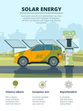 Infographics of electro cars. Eco conceptual pictures with electronic automobiles