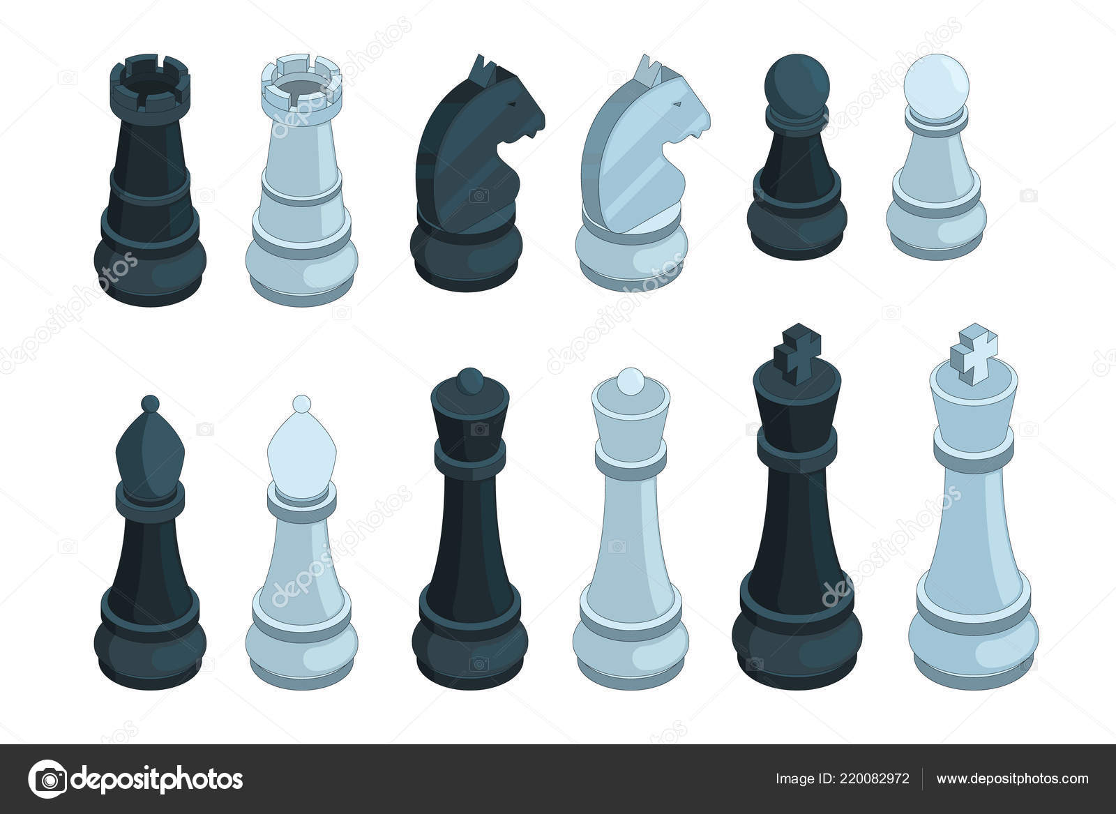 Chess Isometric Board Game Figures Piece Queen Bishop Strategy