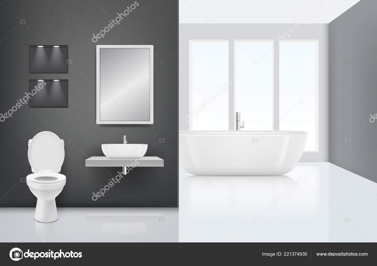 Modernes Badezimmer Interieur. WC Waschbecken Waschen Kabine In Frischen  Und Weißen Bad Luxus Stilvollen