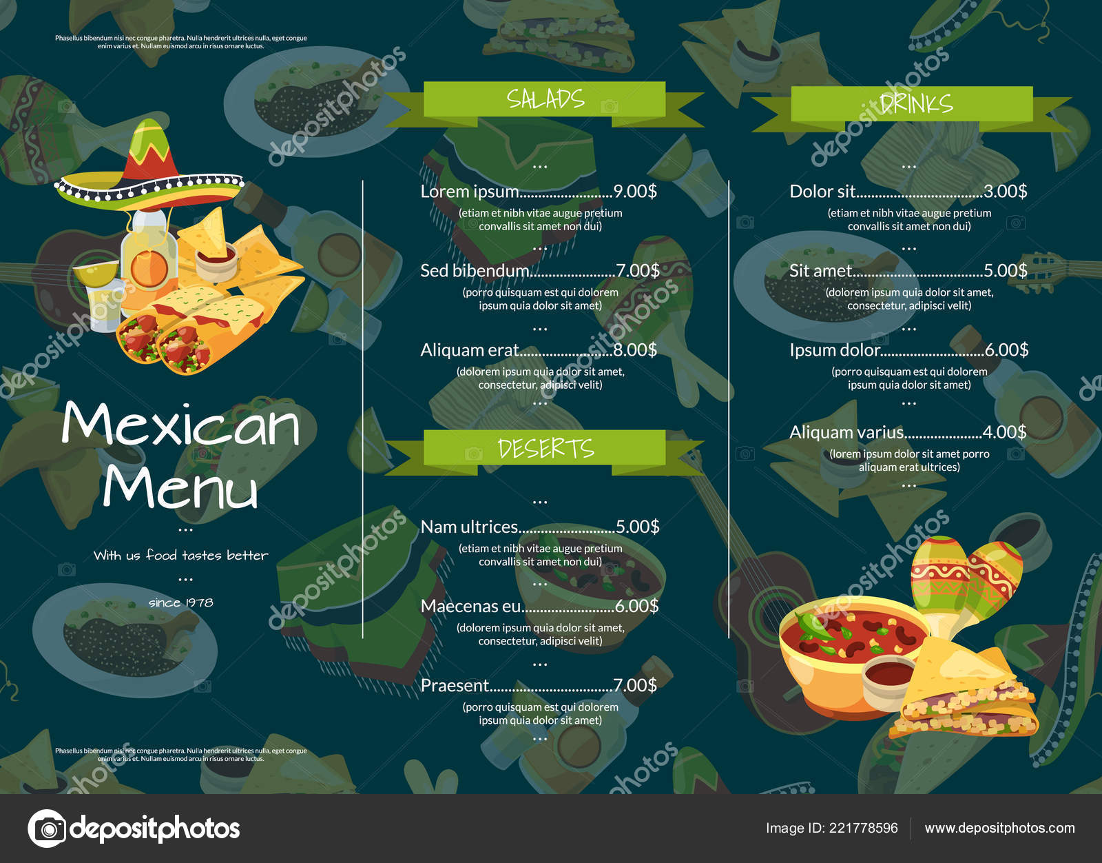 vector cartoon mexican food cafe or restaurant menu template