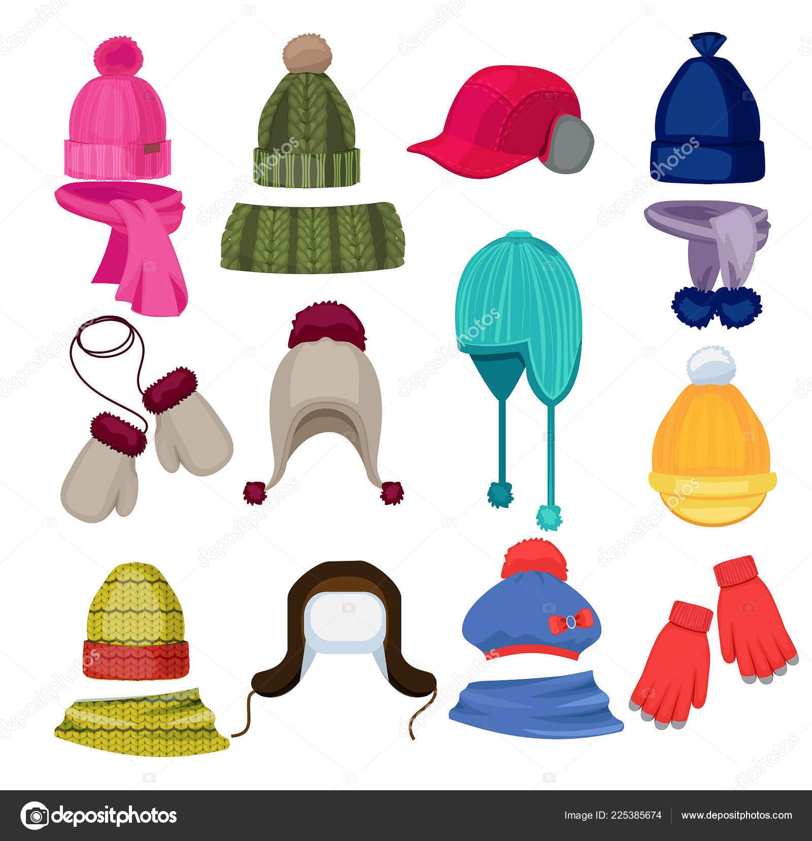 aa33402bbc2 Zimní čepice kreslený. Čepice čepice šátek a další módní doplňky oblečení v  ploché styl vektorové