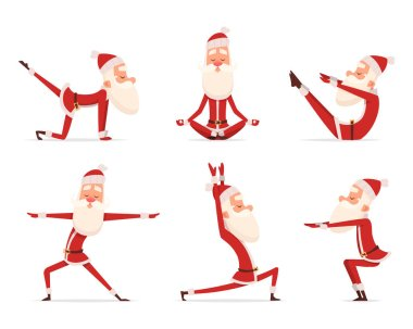 Santa yoga relax. Winter cute healthy christmas holiday santa claus outdoor doing sport yoga exercises vector characters