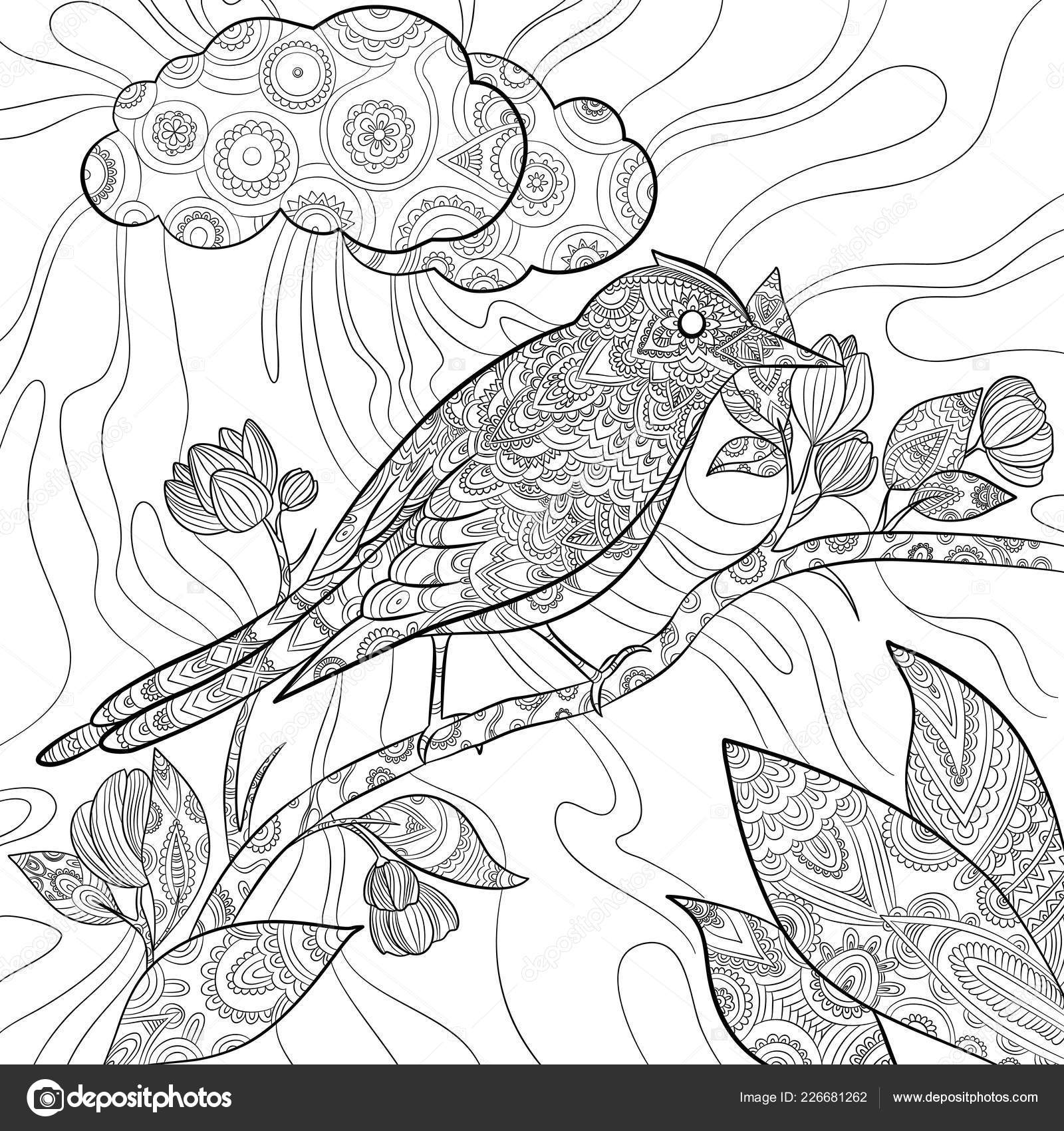 Coloring Pages Bird Wild Flying Animal In Sitting On Branch