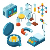 Science isometric. Chemical supporting laboratory testing biology attributes scientific glass tubes drugs microscope vector 3d pictures