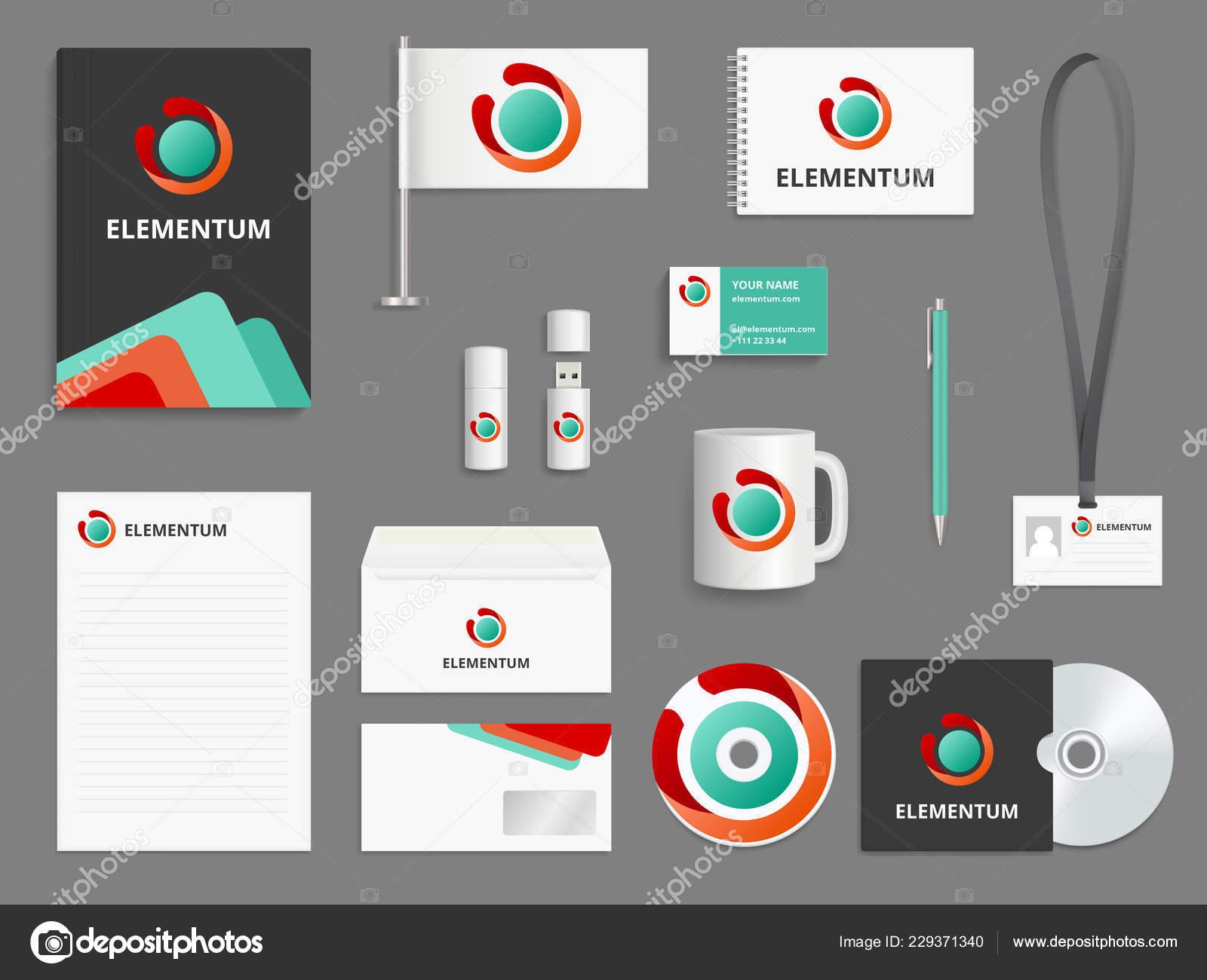 Unternehmensidentität Branding Realistische Vektor Mockup