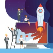Launch startup concept. Business illustrations of office managers with rocket space new idea of web technology vector pictures
