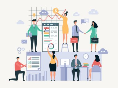 Business team working. Office managers businessmen make together some group work vector abstract oversize characters