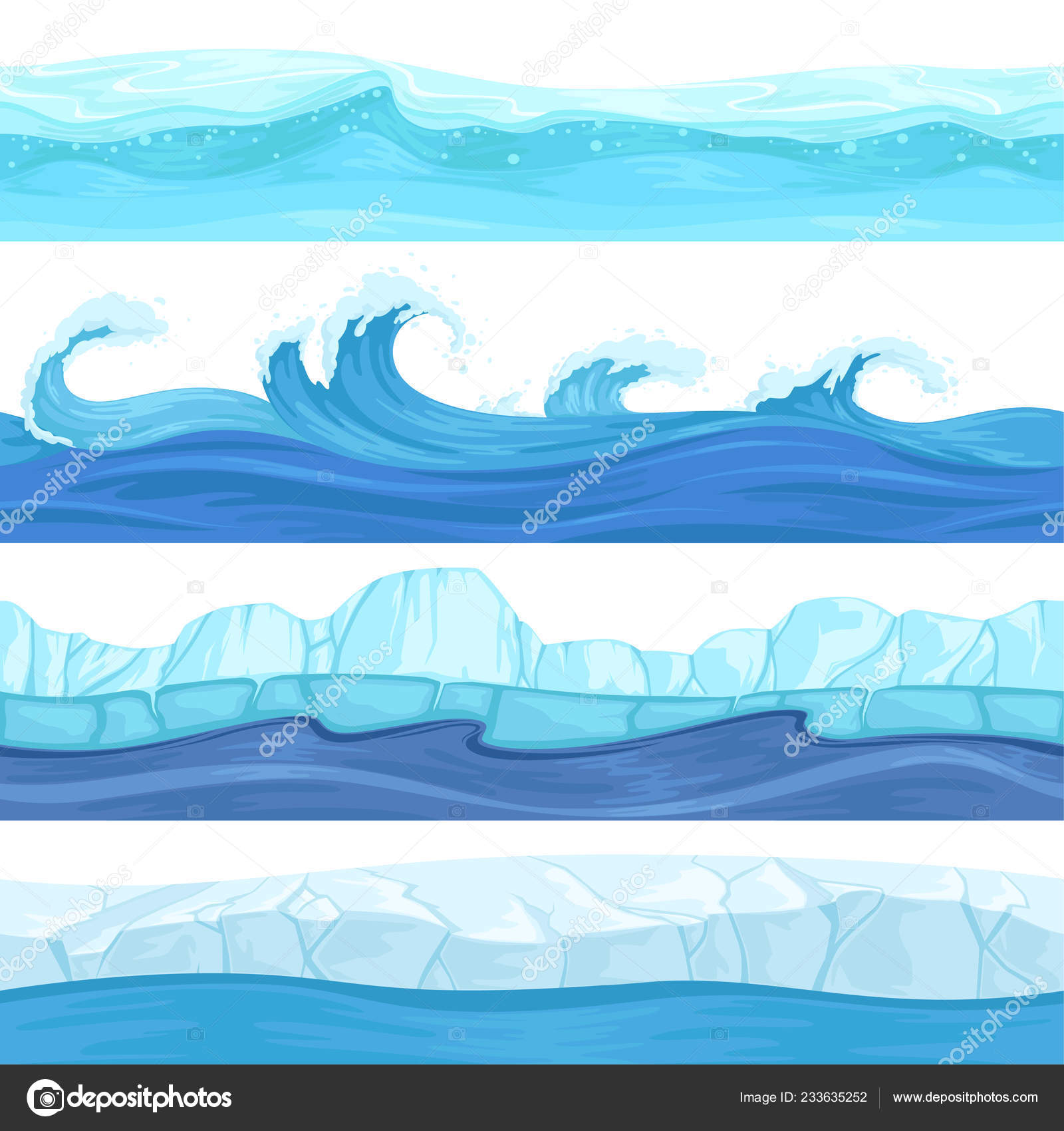 Vector River Texture Seamless Water Waves Liquid And Ice