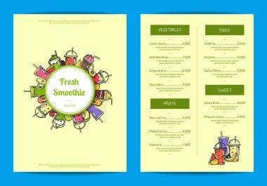 Vector doodle smoothie cafe or restaurant menu template illustration