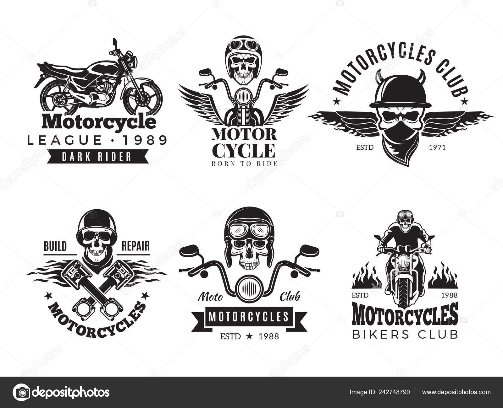 Biker labels  Vintage custom motorcycle and symbols for