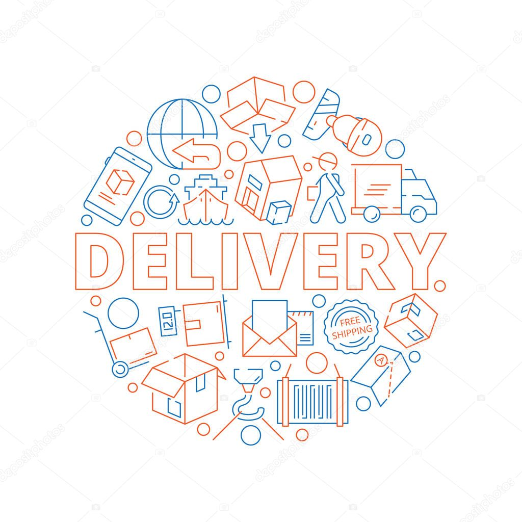Logistic concept. Global delivery cargo service shipment thin line vector icon in circle shape