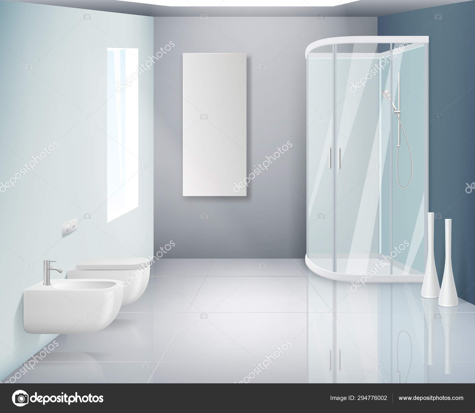 Bathroom Interior Modern Toilet Or Washroom Objects Bathroom Realistic Vector Background Stock Vector C Onyxprj 294776002