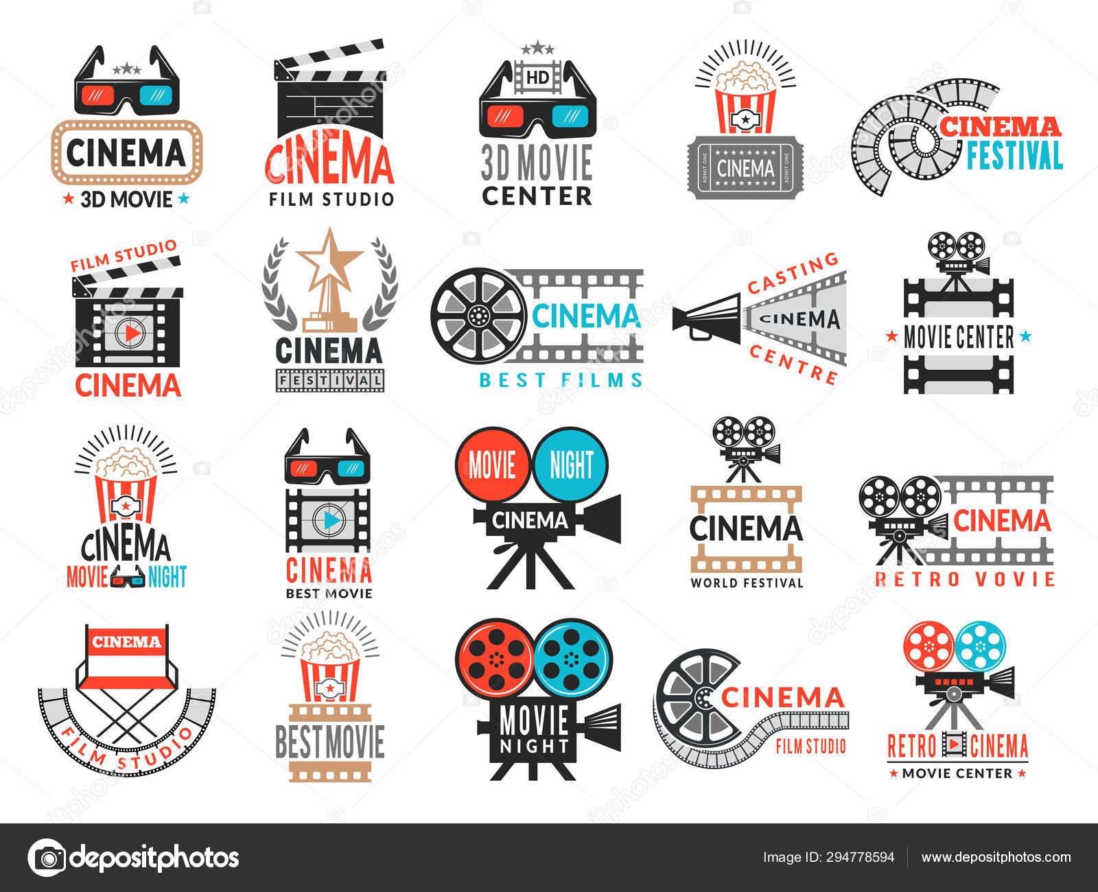 Cinema badges  Movie production symbols camera director
