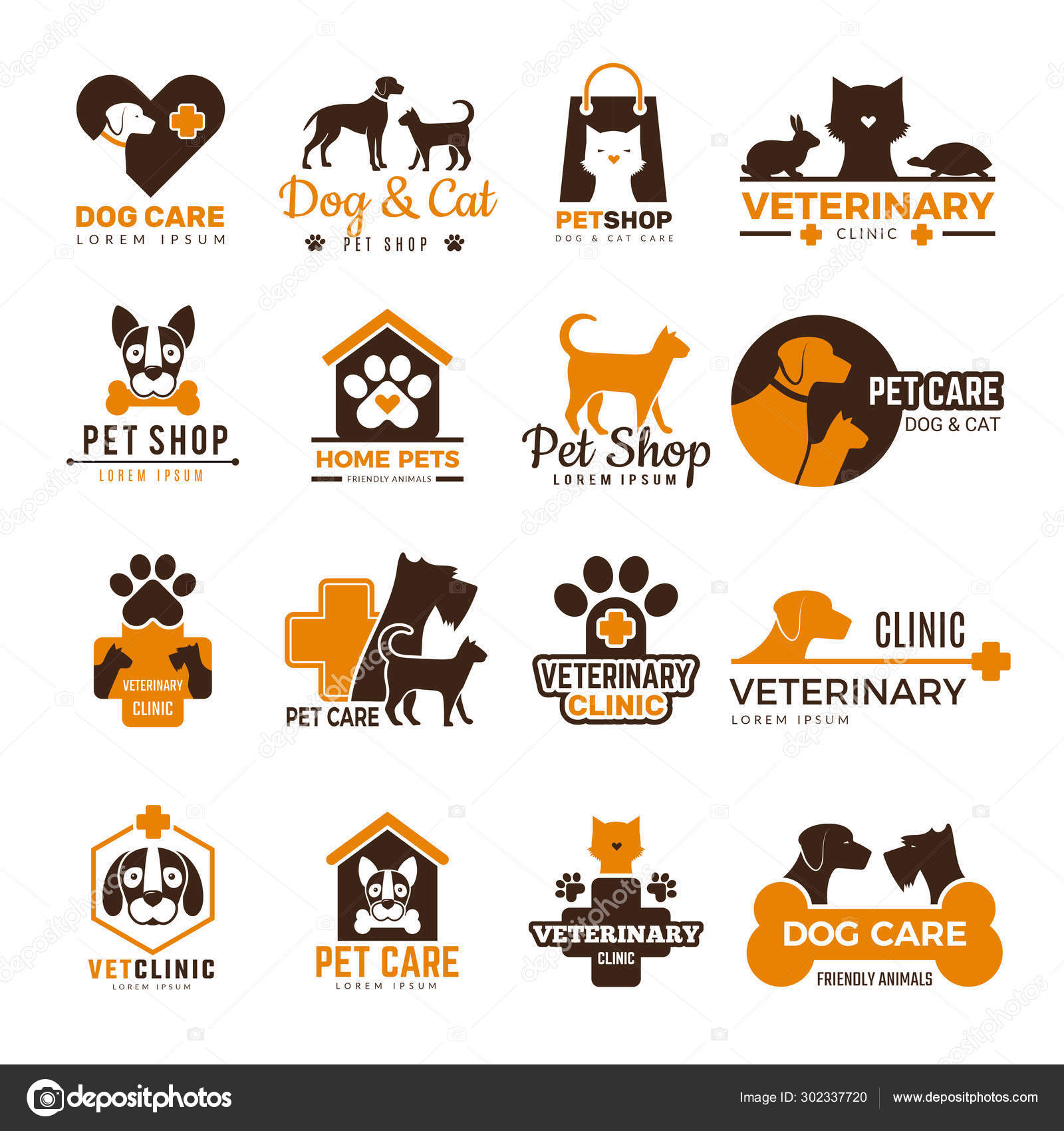 Vet Clinic Logo Pets Shop Cats Dogs Domestic Animals Protection Friendly Funny Symbols Vector Collection Stock Vector C Onyxprj 302337720