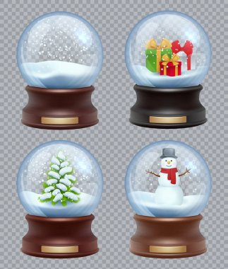 Glass snow ball. Crystallizing magical christmas toy snowglobe vector realistic template. Ball christmas glass, magical globe sphere illustration stock vector