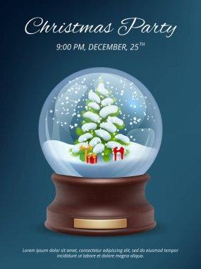 Christmas poster. Transparent crystallizing magic snowglobe christmas party invitation vector placard template. Ball xmas tree, snowglobe, bubble dome christmas illustration stock vector